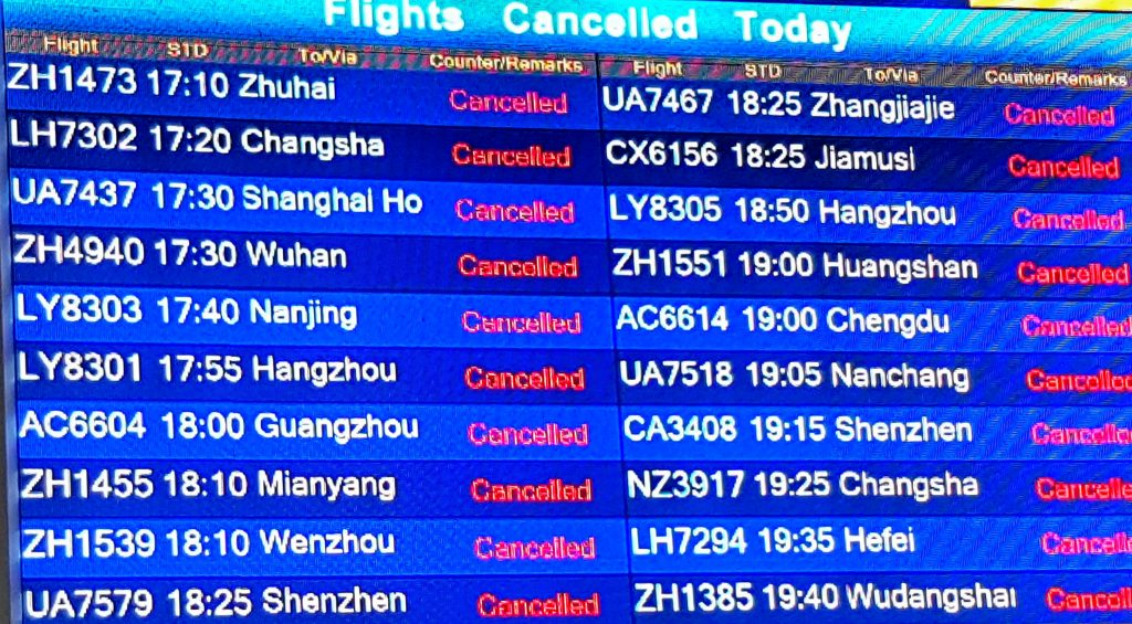 China Flüge gestrichen